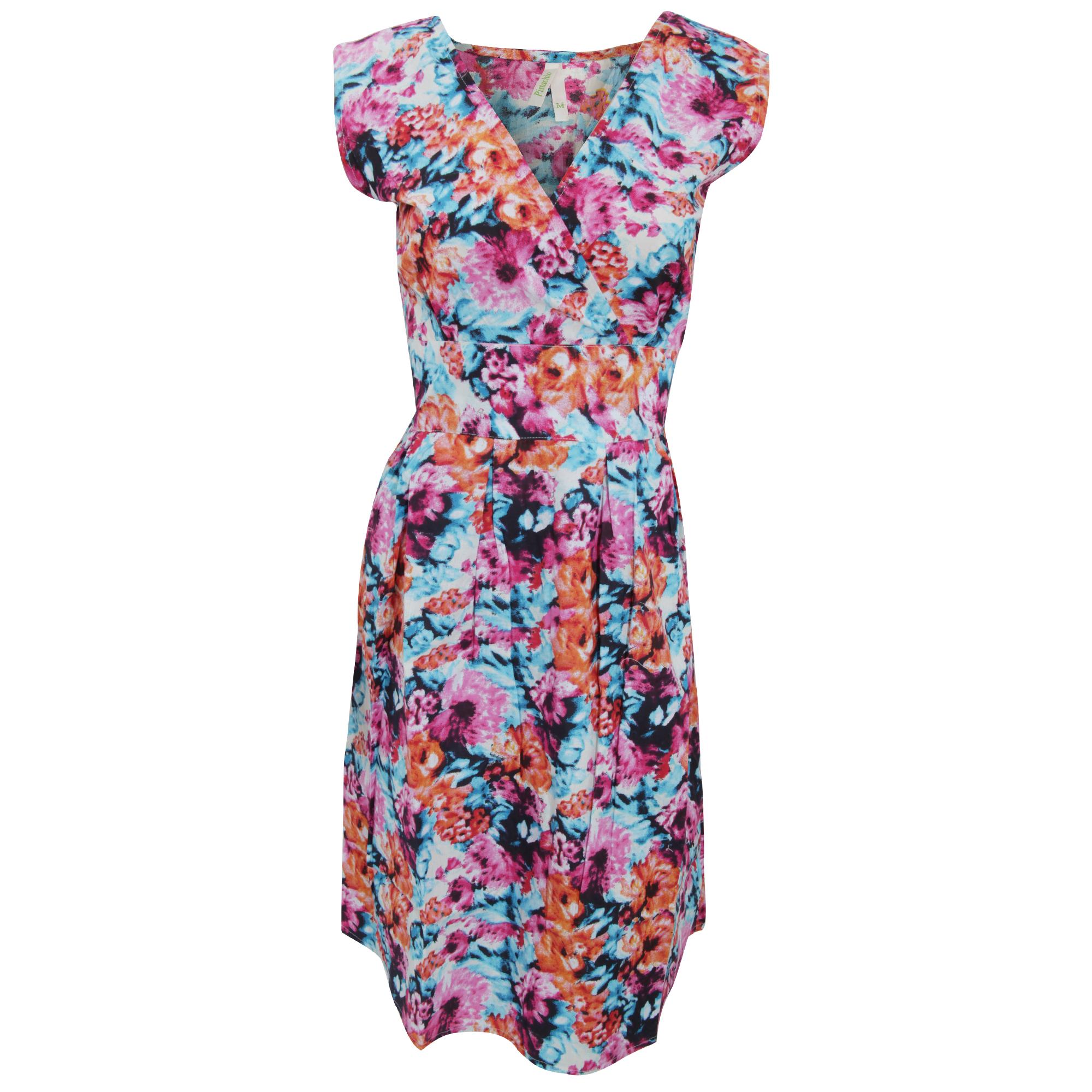 Womens/Ladies Floral Print Sleeveless Cotton Summer Dress ...