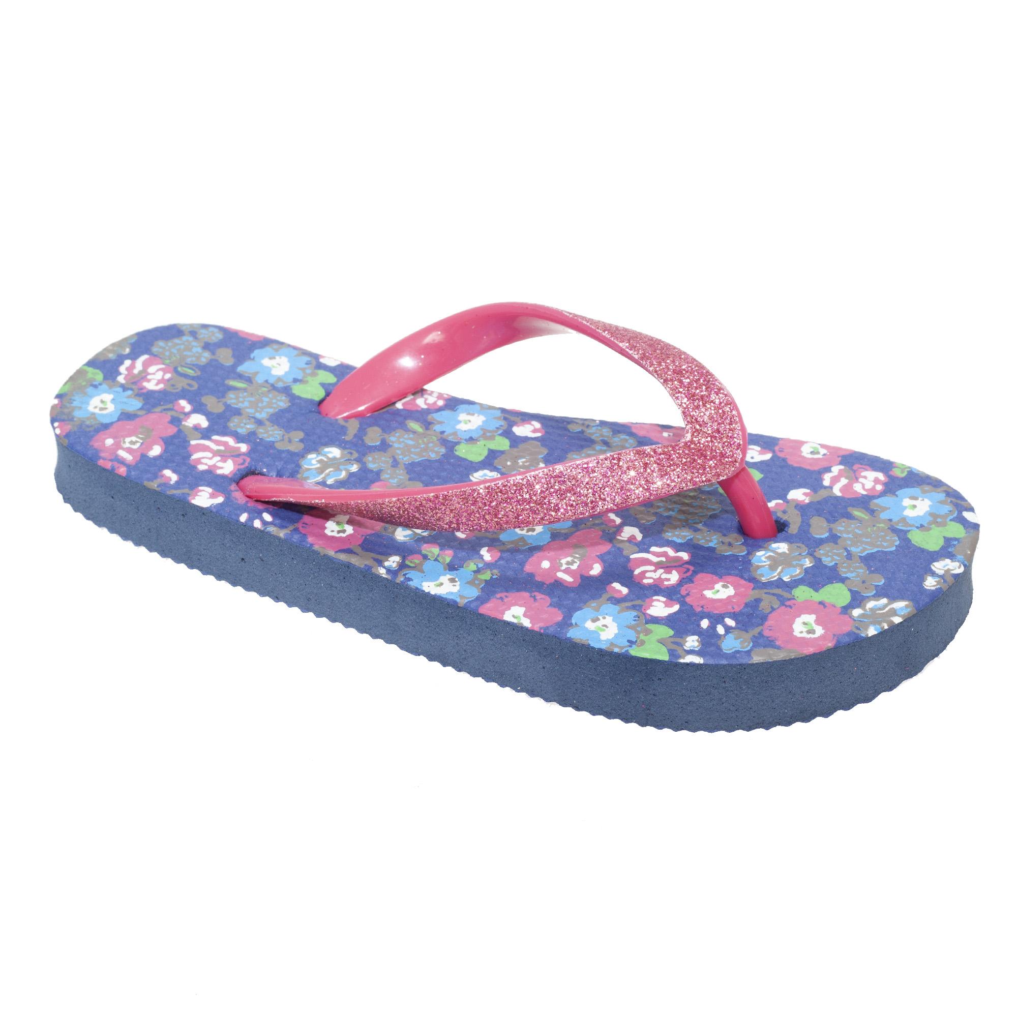 floso kinder m dchen floral flip flops mit glitterriemen ebay. Black Bedroom Furniture Sets. Home Design Ideas