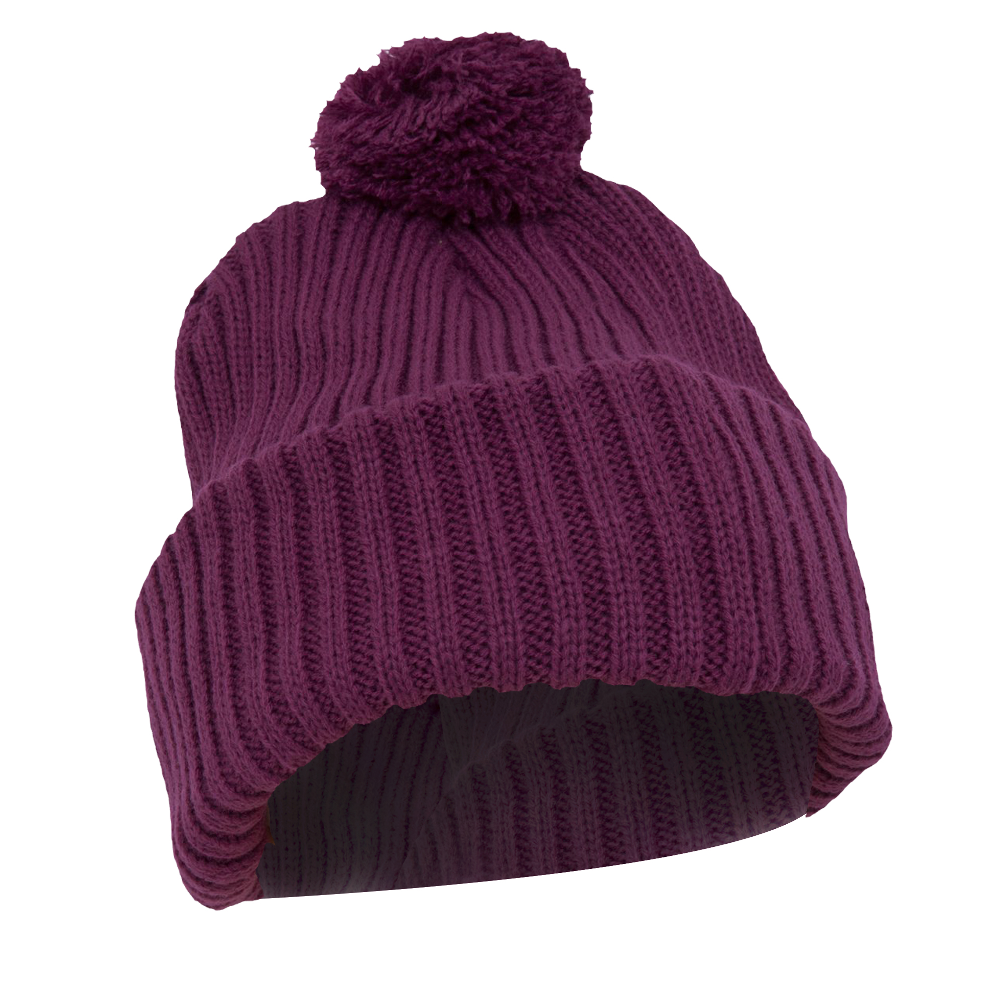womens chunky knit thermal winter ski hat with pom