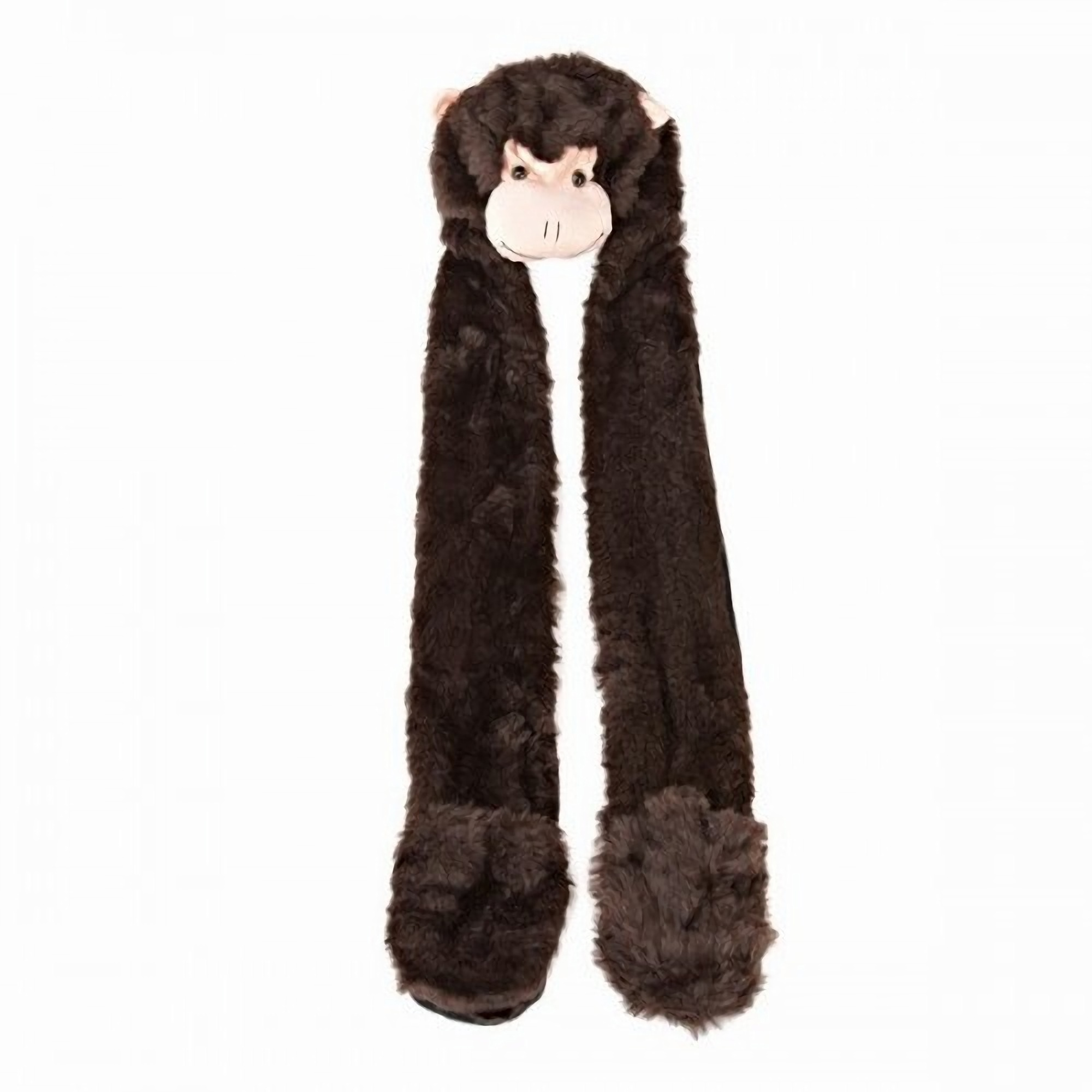 womens faux fur animal hat with attached scarf and