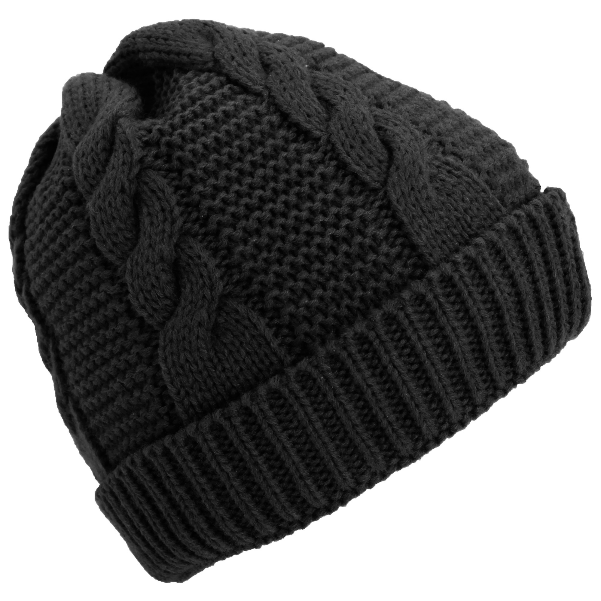 Knitting Pattern Lined Hat : Ladies/Womens Cable Knit Fleece Lined Winter Beanie Hat eBay