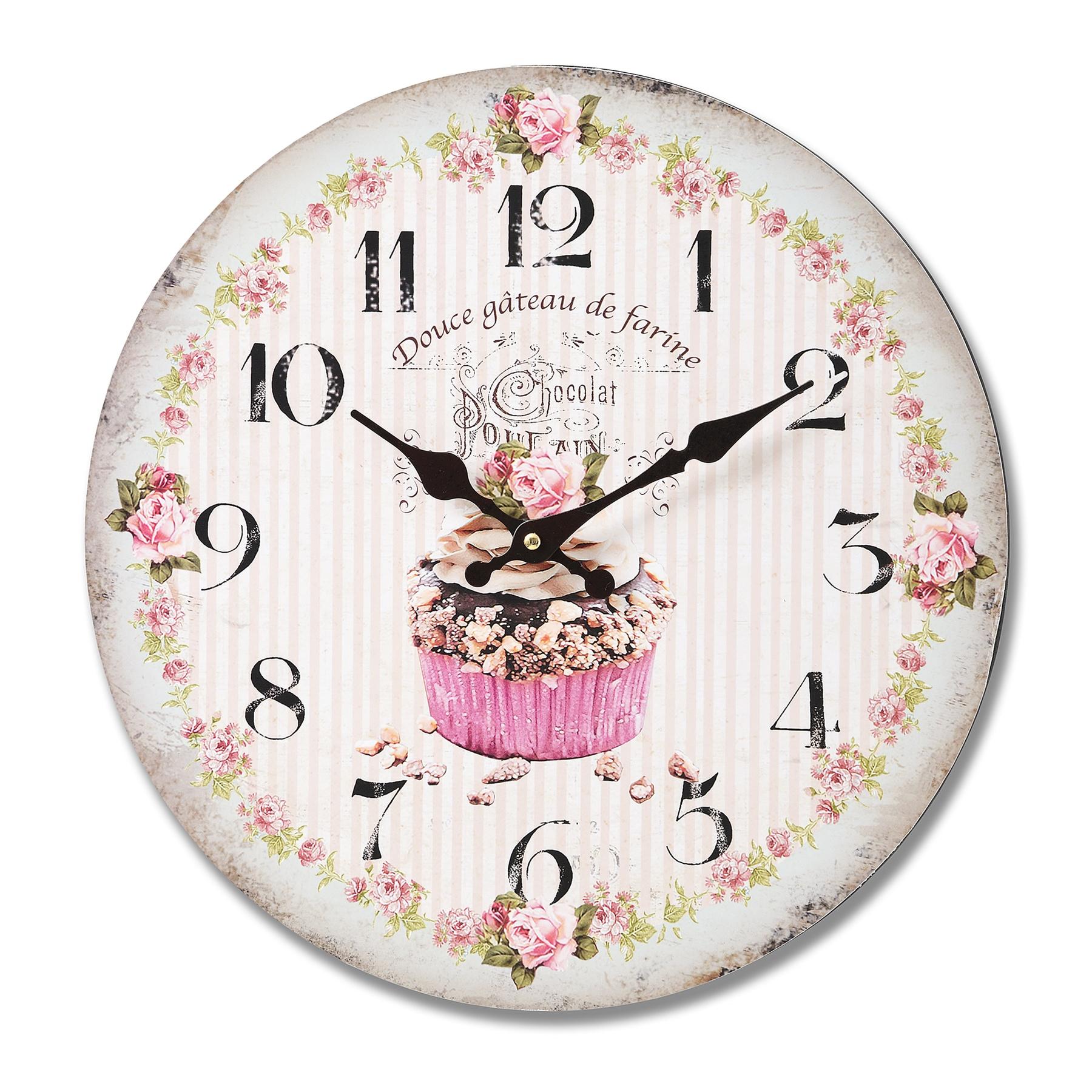 Wall Clock Floral Design : Hill interiors chocolat cupcake wall clock with floral