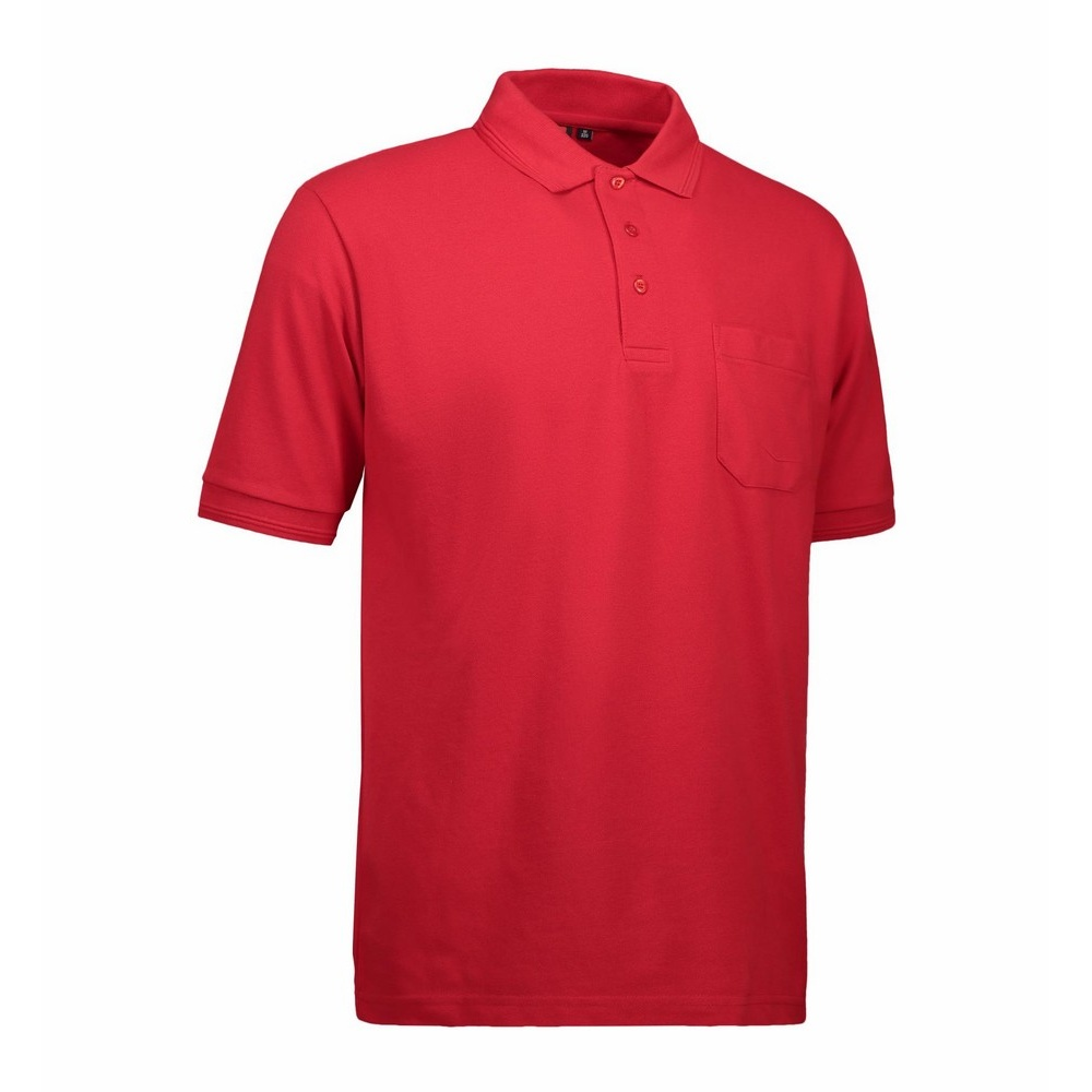 Id mens pro wear short sleeve plain summer polo shirt with for Mens two pocket short sleeve shirts