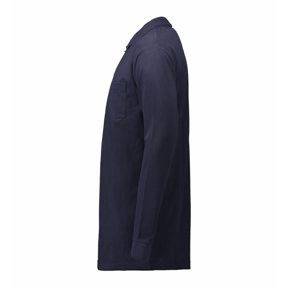 Id mens pro wear pocket long sleeve polo shirt ebay for Two pocket polo shirt