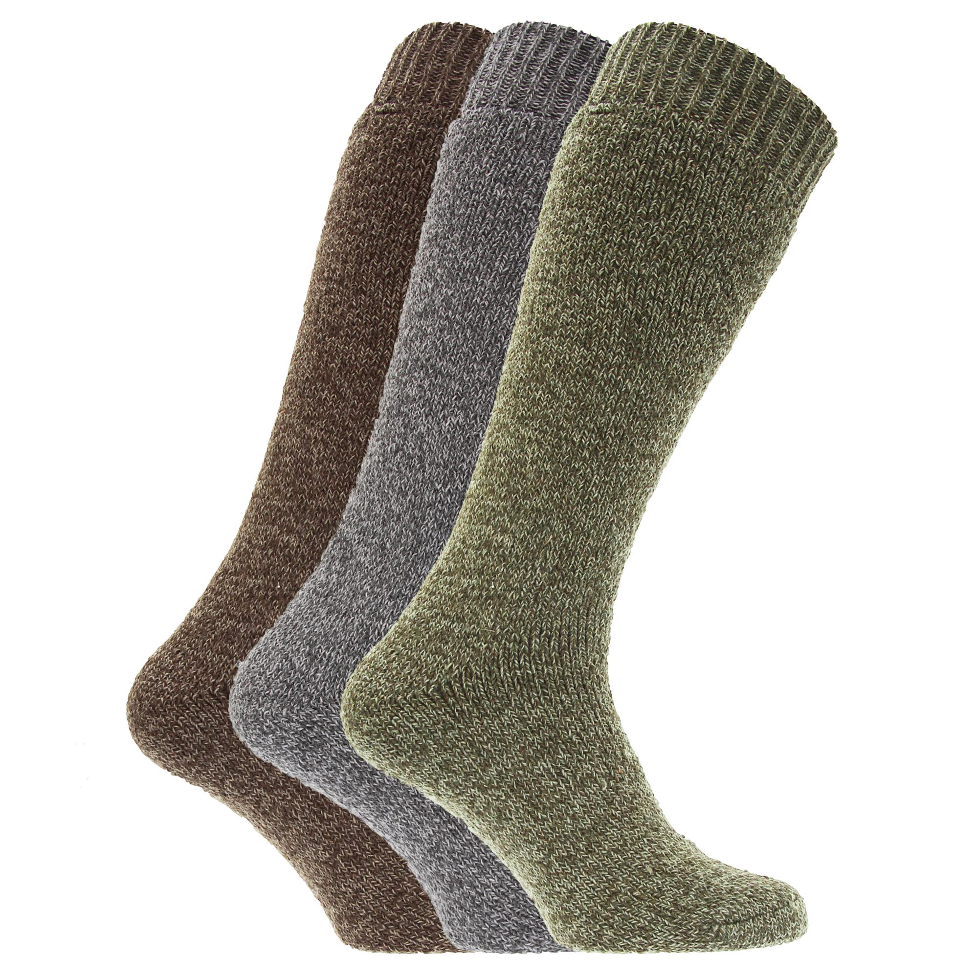 mens thermal wool blend wellington boot socks pack of 3