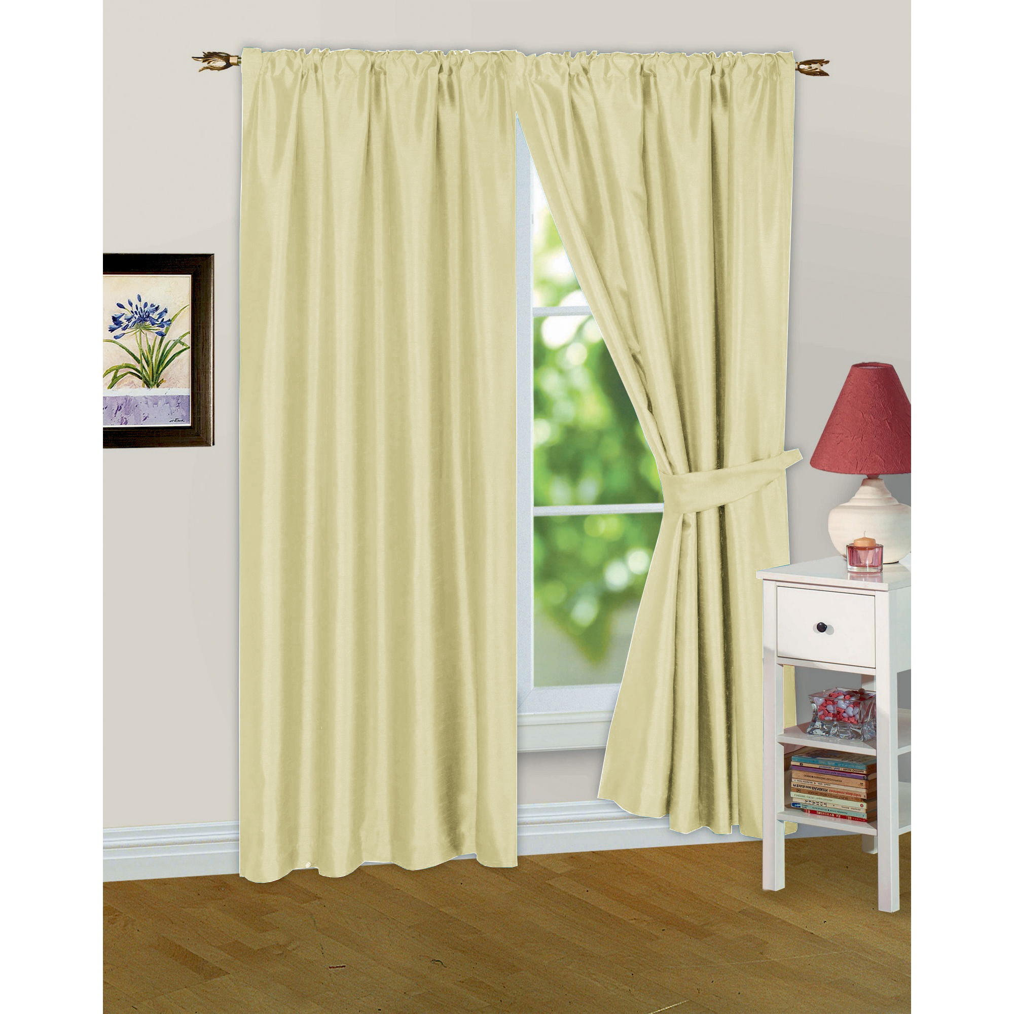 Faux Silk Ready Made Fully Lined Modern Window Curtains