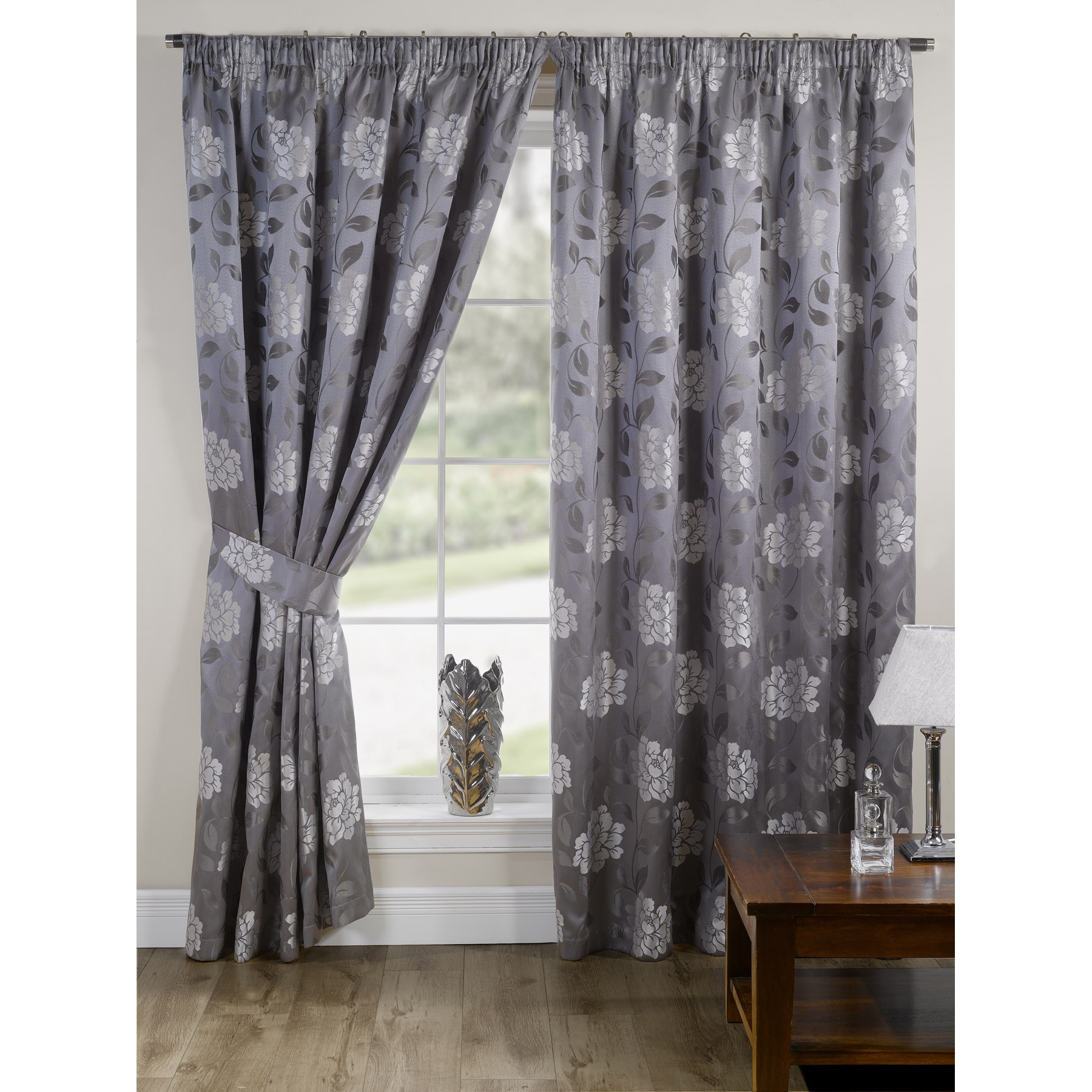 Davina fully lined ready made floral patterned curtains for Home drapes and curtains