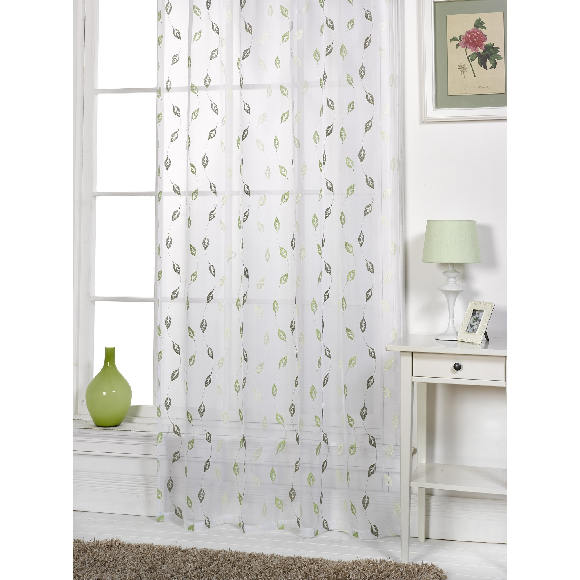 Epping leaf patterned voile living room transparent panel for Patterned sheer curtain panels