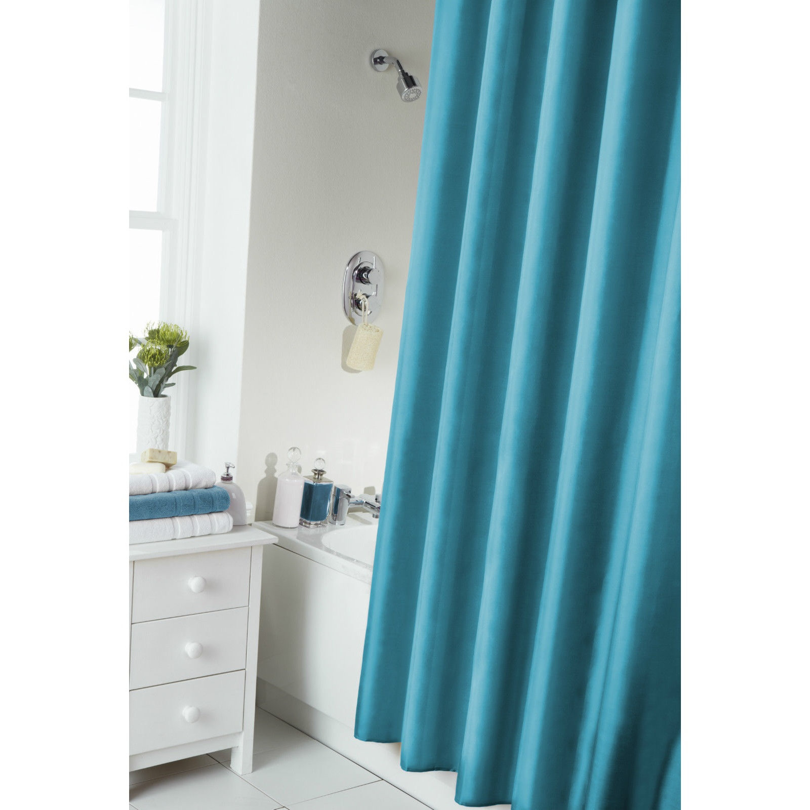 Plain Modern Shower Bath Curtain With Rail Rings 8 Colours Bathroom Ebay