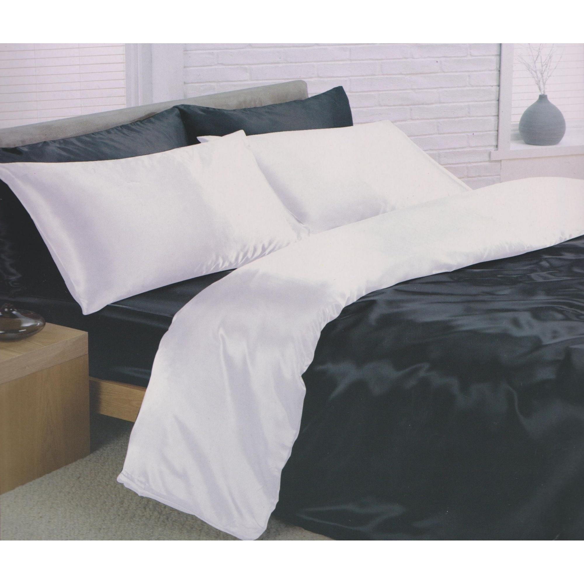 Charisma Satin Reversible Bedding Set Duvet Cover Fitted