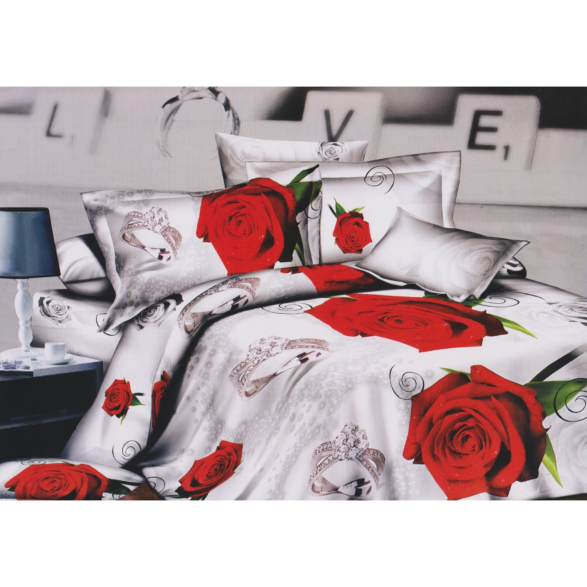 bettw sche set mit rosen diamantenring design wei und rot ebay. Black Bedroom Furniture Sets. Home Design Ideas
