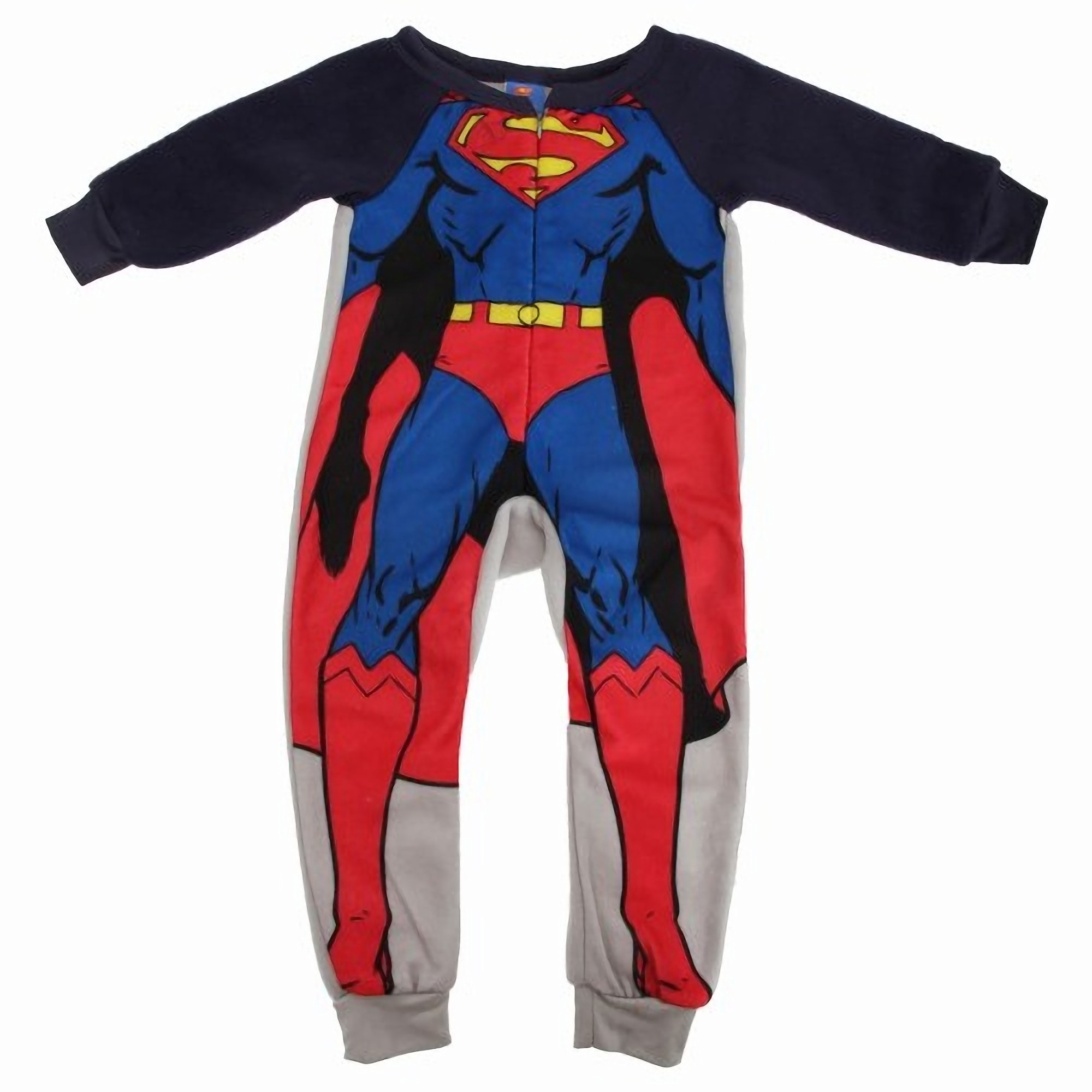 Superman Logos All Over Fleece Union Suit Pajama. This is the perfect union suit for the Superman fan in your life! The soft blue fleece is a classic Superman blue and has the Super Shield, along with the Superman block-style logo in an all-over print. The one piece pajama has a half-zip and slightly elastic ankles and wrists to prevent ride-up..