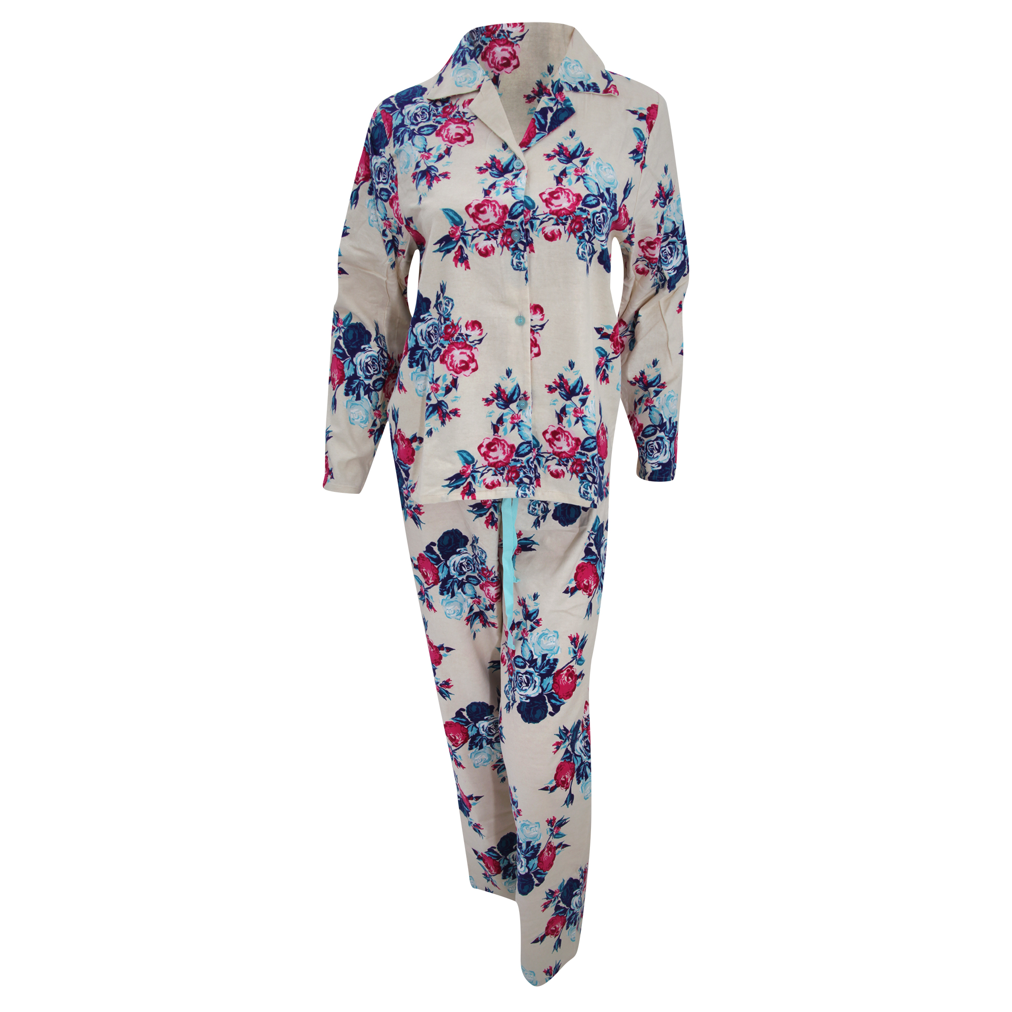 Womens ladies floral flannel long sleeved shirt and for Women s flannel sleep shirt