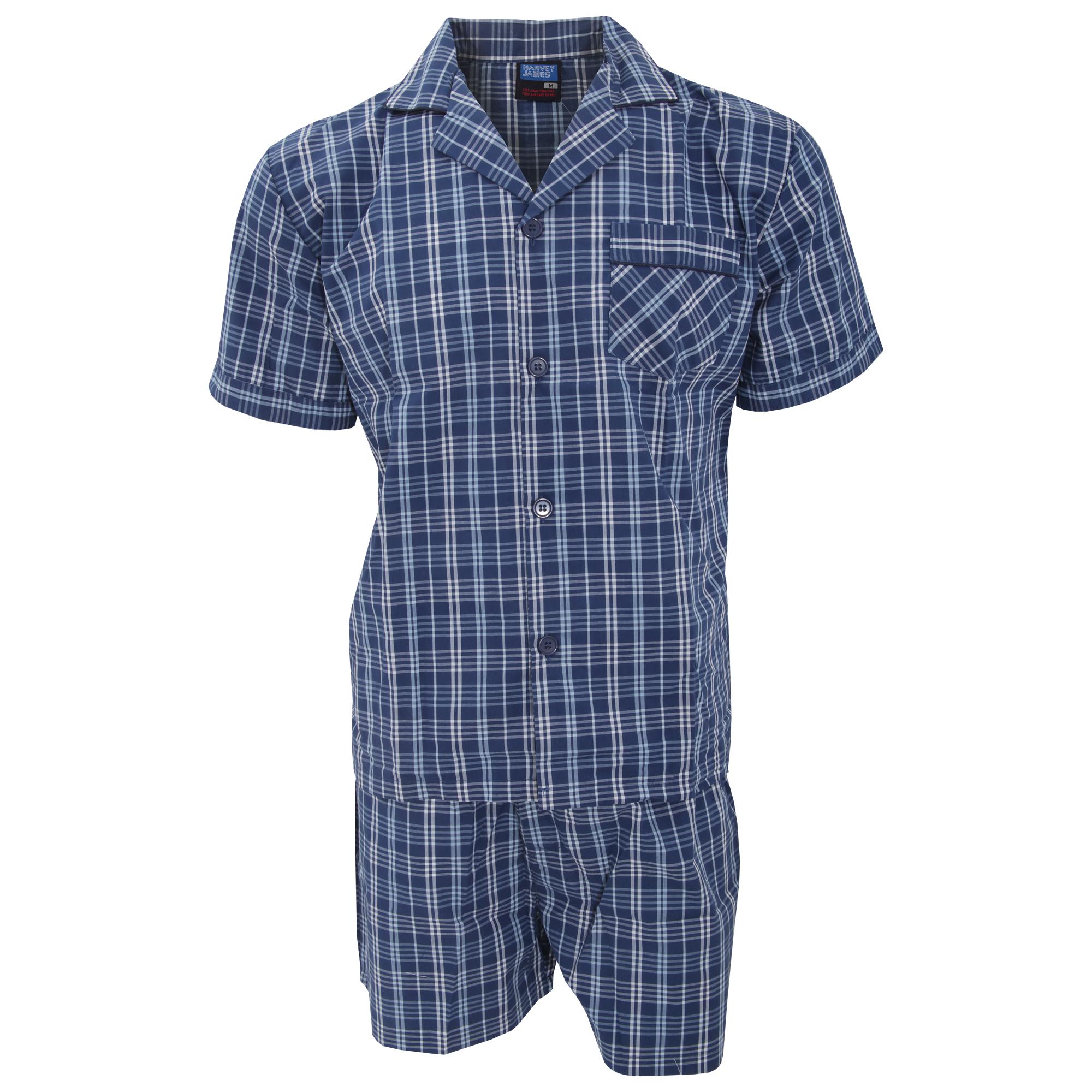 Mens patterned short sleeve shirt and shorts pajama for Mens short sleeve patterned shirts