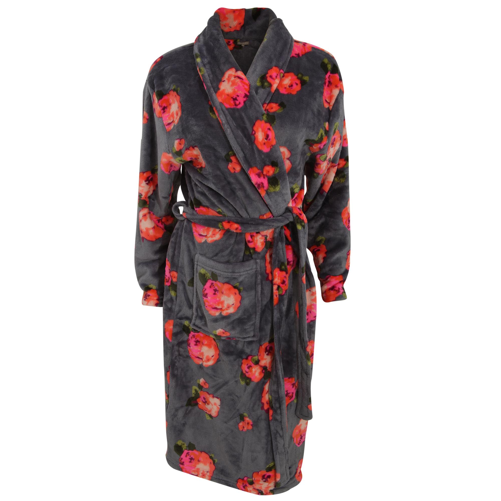 damen fleece bademantel mit rosenmuster ebay. Black Bedroom Furniture Sets. Home Design Ideas
