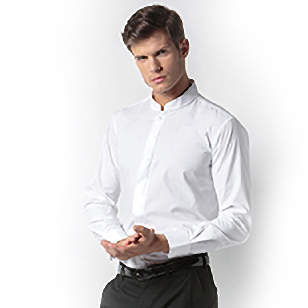 Mens Linen Mandarin Collar Shirt