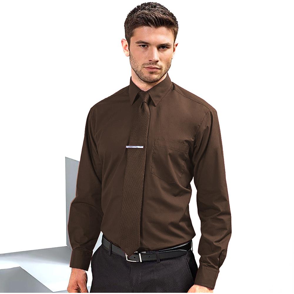 Premier mens long sleeve formal plain work poplin shirt 13 for Long sleeve poplin shirt