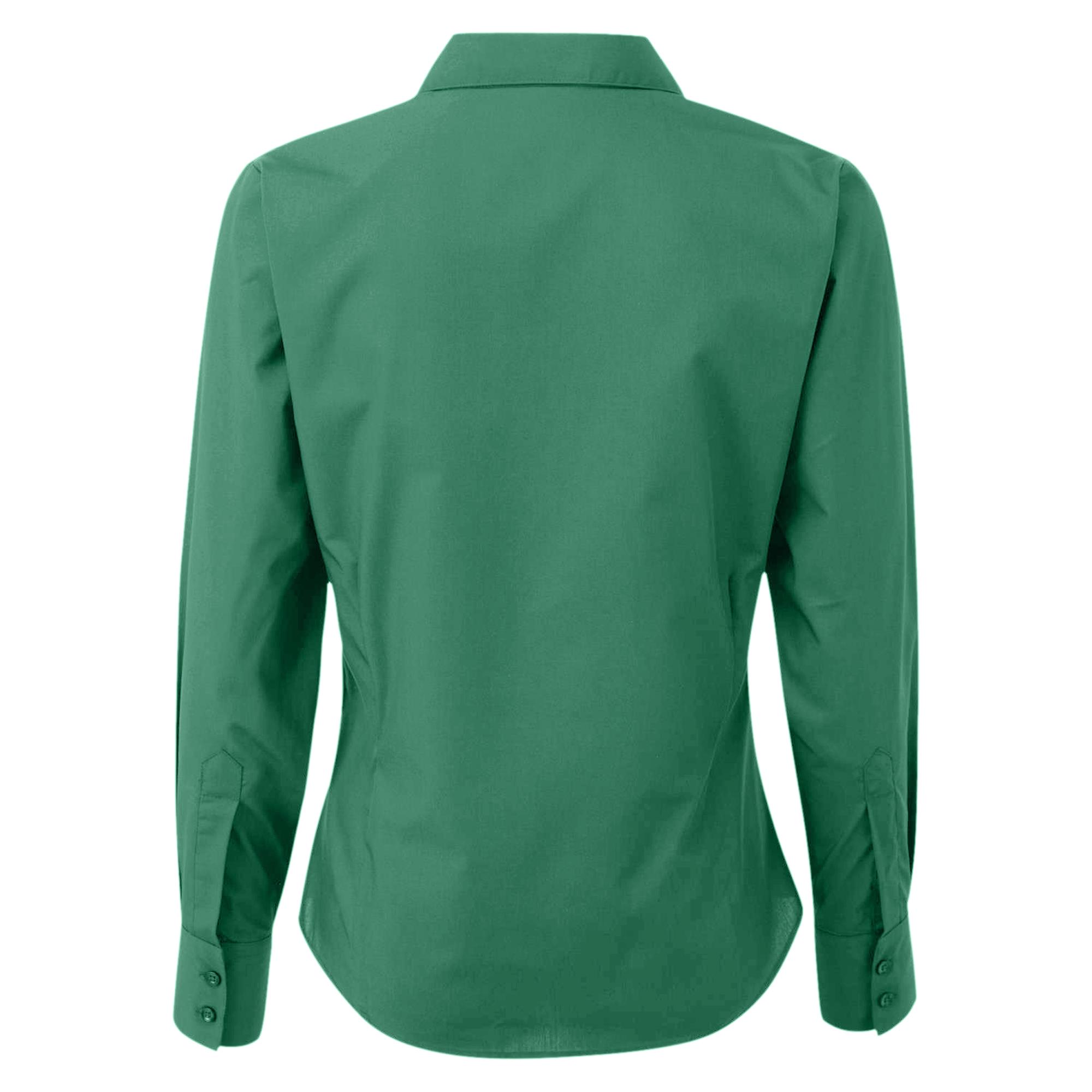 Premier womens ladies poplin long sleeve blouse plain work for Women s turquoise long sleeve shirt
