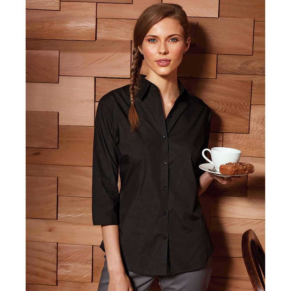 Womens ladies premier 3 4 sleeve poplin blouse plain work for Womens work shirts uniforms