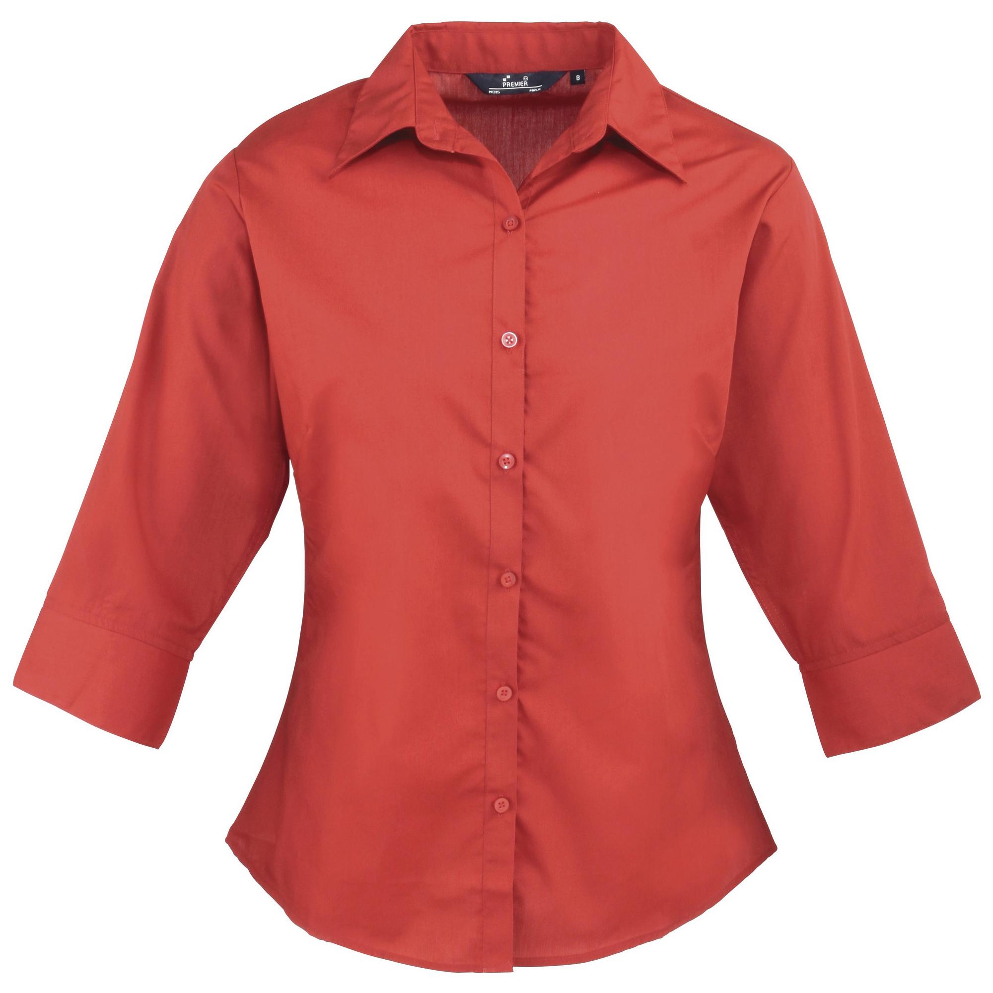 Womens Ladies Premier 3 4 Sleeve Poplin Blouse Plain Work
