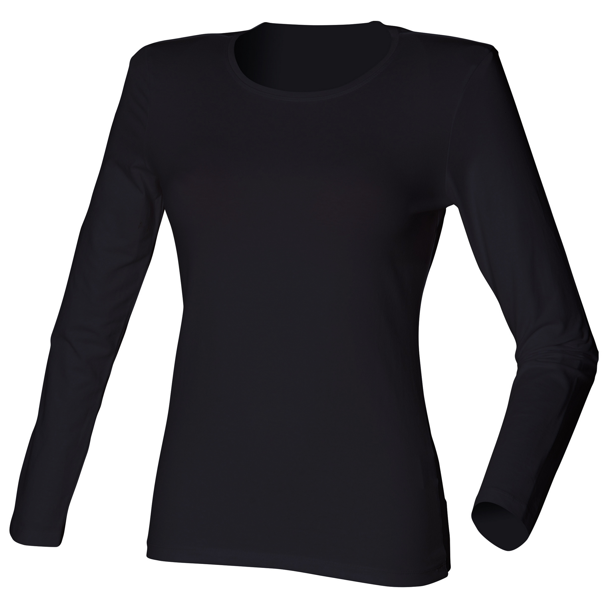 Skinni fit womens ladies long sleeve stretch t shirt ebay for Women s long sleeve fitted t shirts
