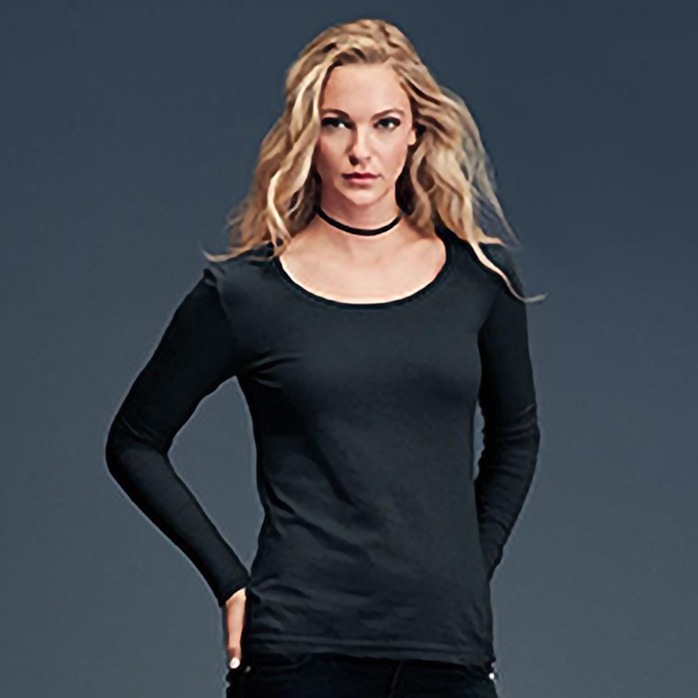 Anvil womens long sleeve sheer scoop neck t shirt 5 for Long sleeve scoop neck shirt
