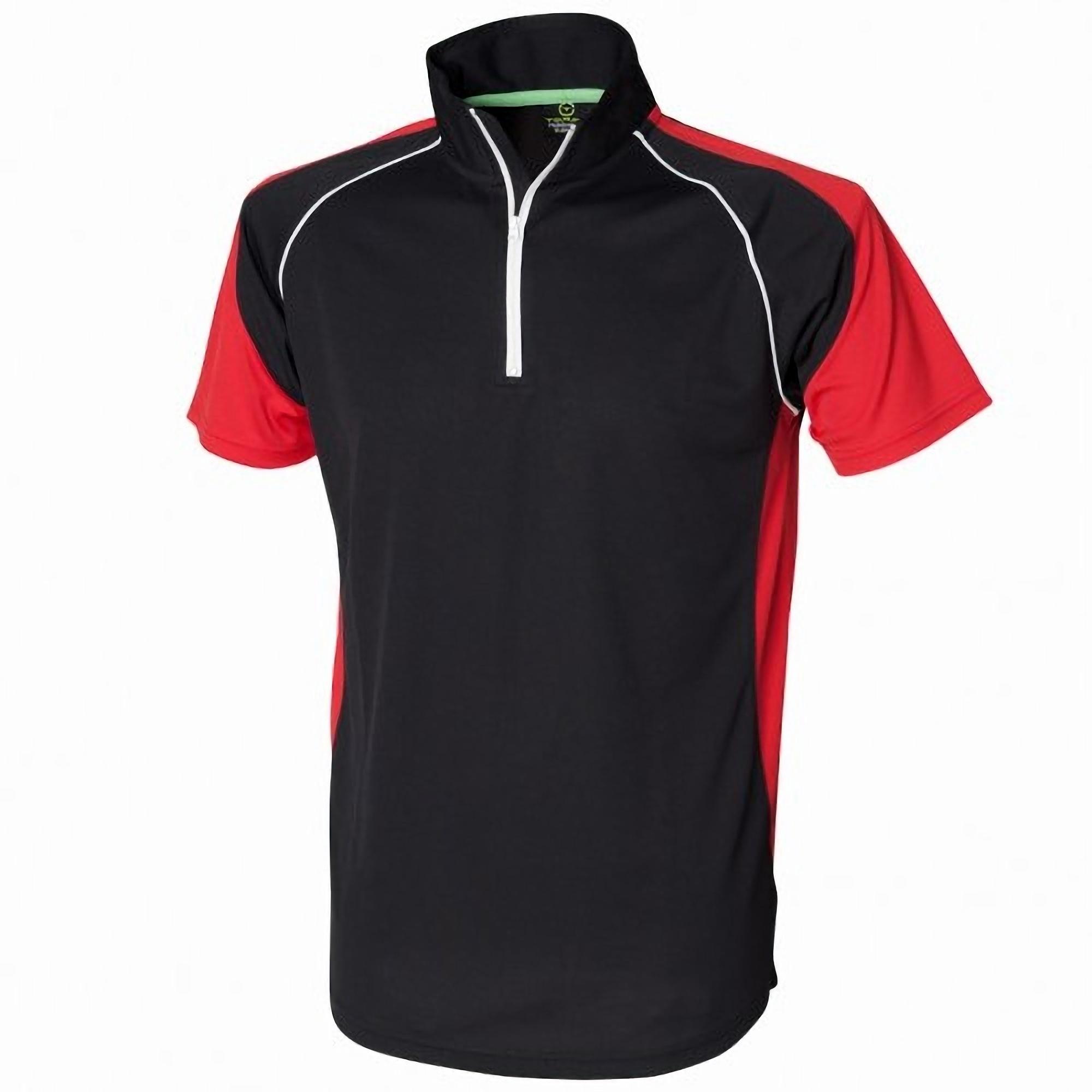 Tombo teamsport mens panel zip neck sports short sleeve for Mens sport t shirts
