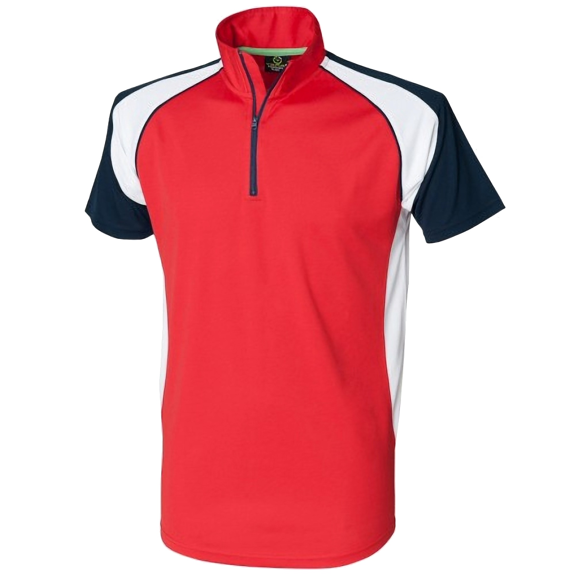 Tombo teamsport mens panel zip neck sports short sleeve for Best mens sport shirts