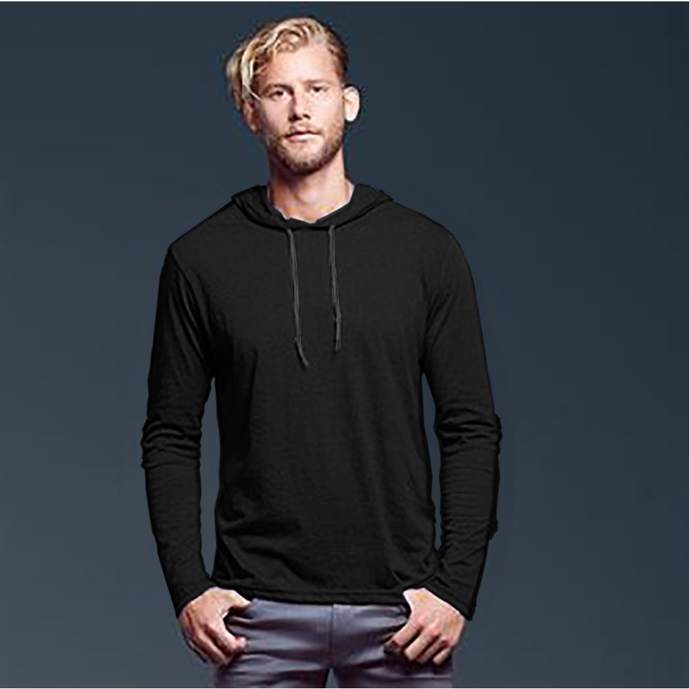anvil mens fashion plain long sleeve hooded t shirt ebay