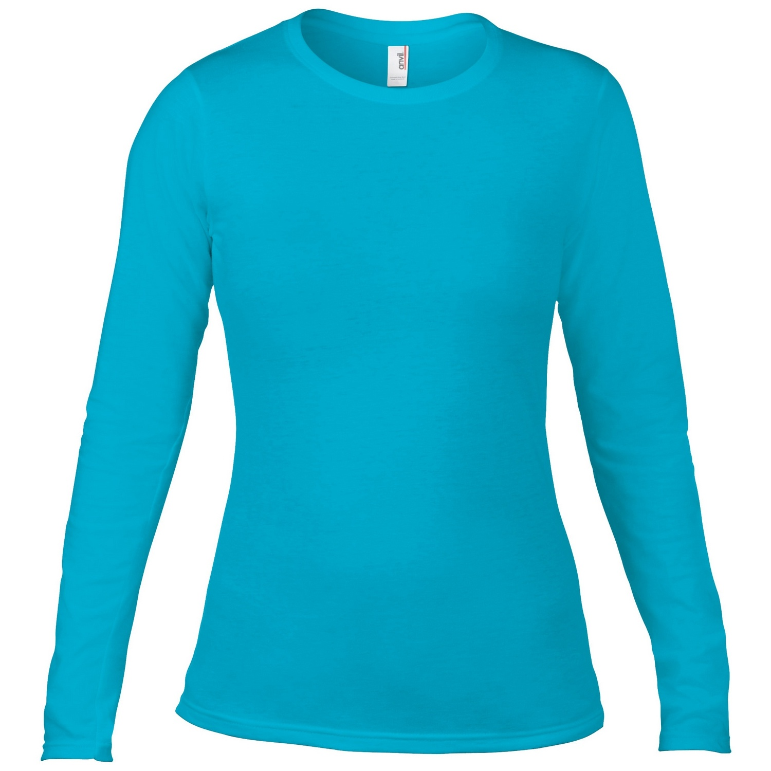 anvil womens ladies fashion plain fitted long sleeve t