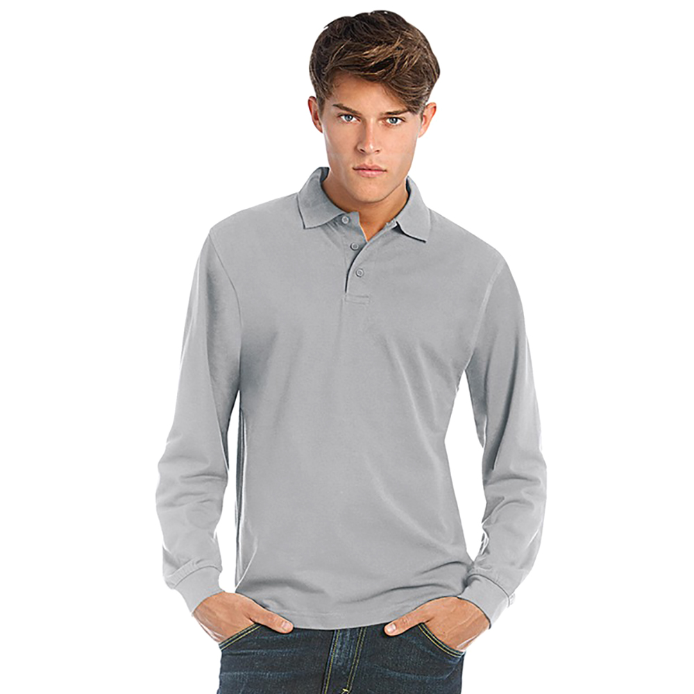 B C Mens Heavymill Cotton Long Sleeve Plain Basic Polo: fair trade plain t shirts