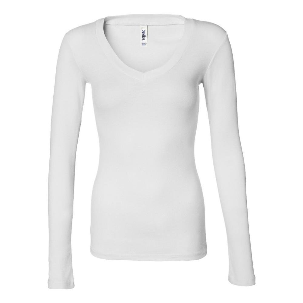 Bella canvas womens ladies sheer mini rib long sleeve v for Long sleeve womens t shirts