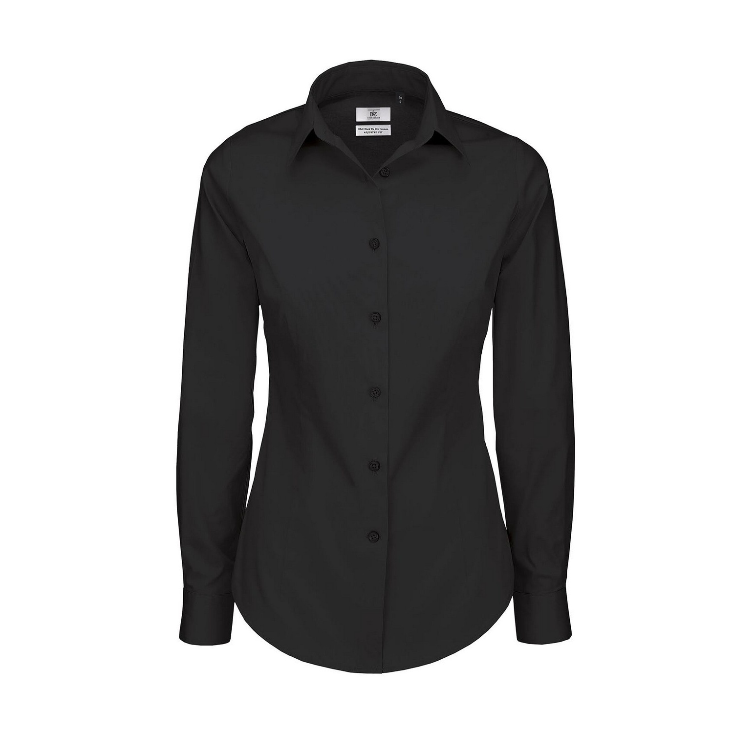B c womens ladies black tie formal long sleeve plain for Womens work shirts uniforms