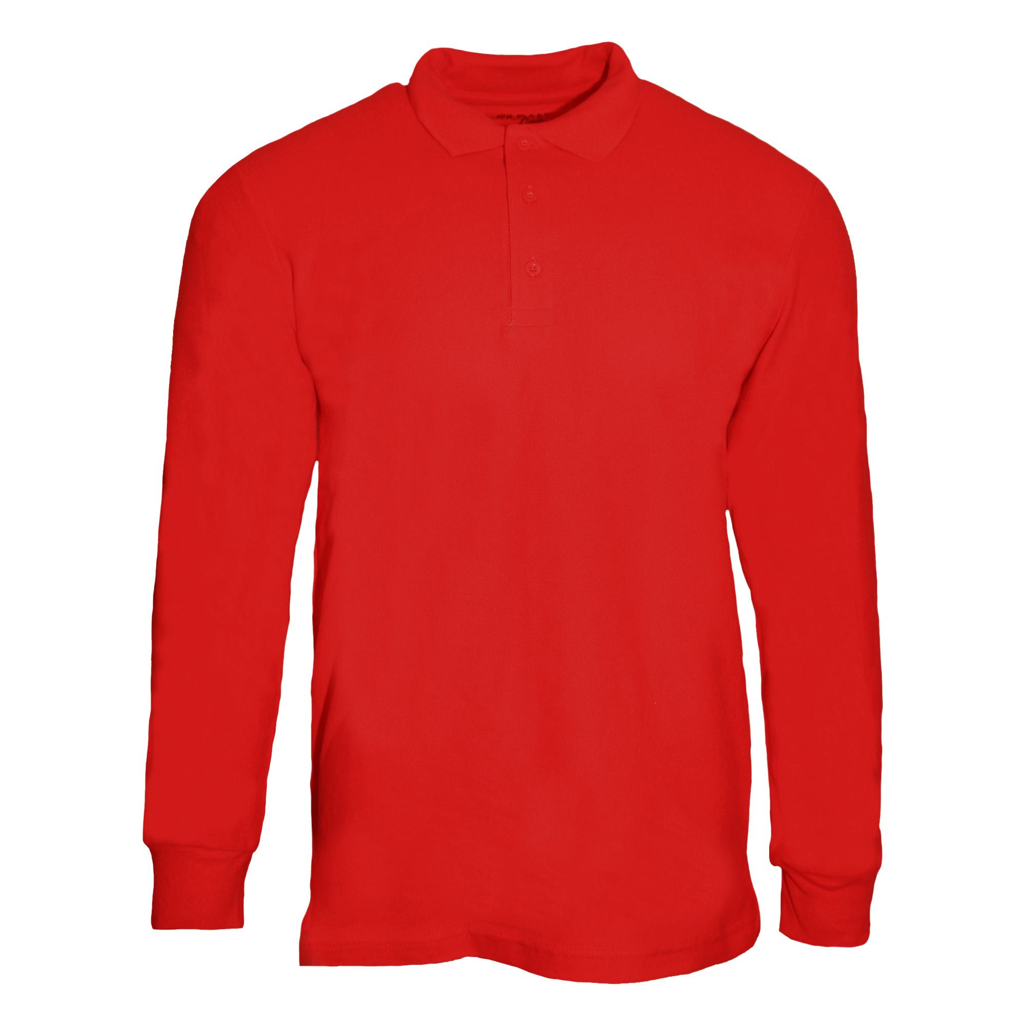 Gildan Mens Long Sleeve Premium Cotton Double Pique Polo Shirt | eBay