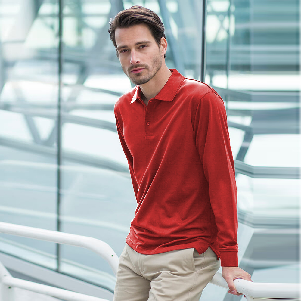 Henbury Mens Coolplus Moisture Wicking Long Sleeve Polo
