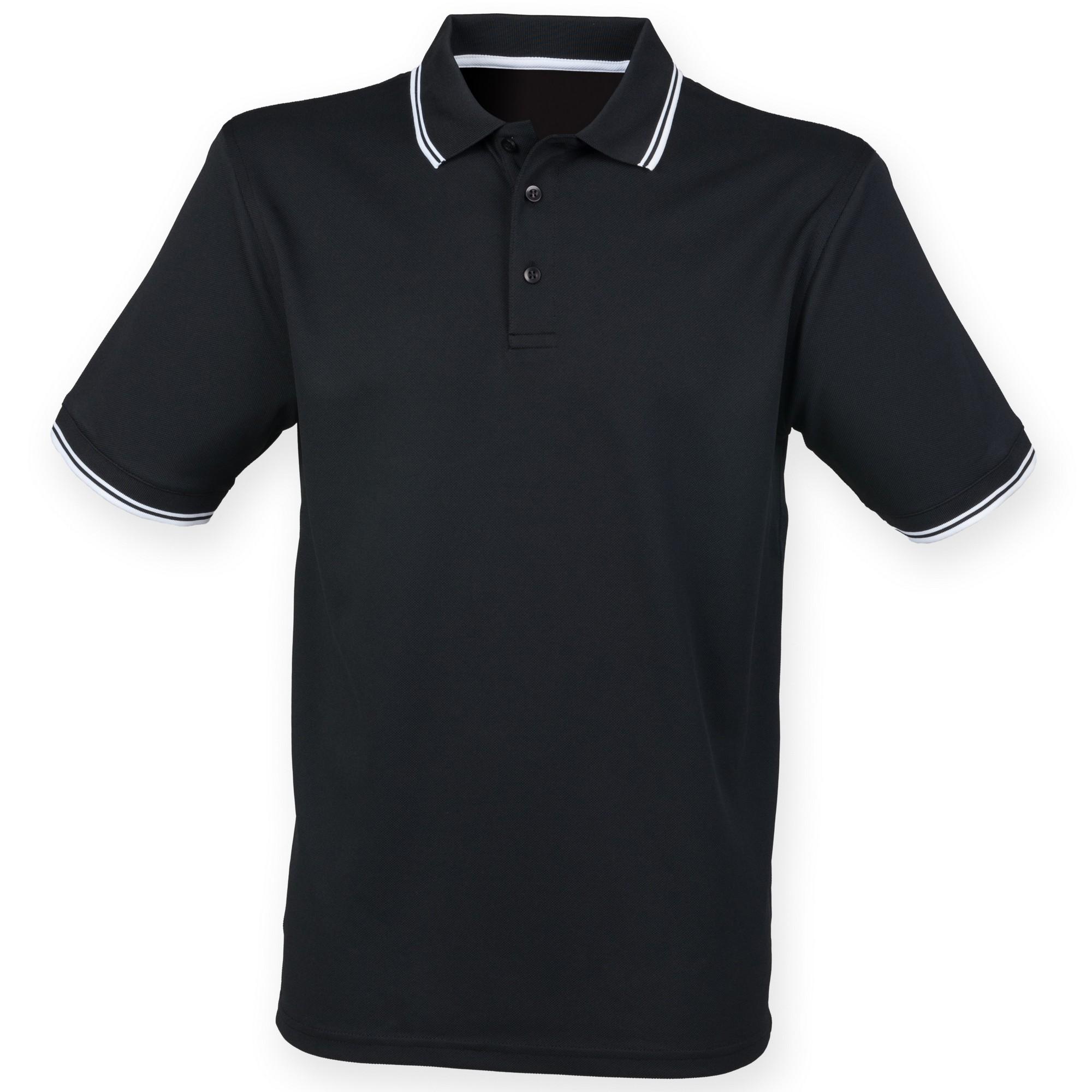 Henbury mens coolplus moisture wicking short sleeve polo for Mens moisture wicking sleeveless shirts