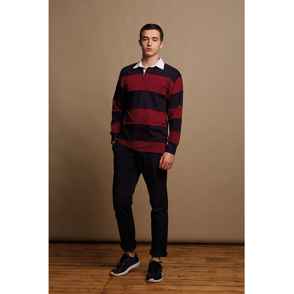 Front row sewn stripe long sleeve sports rugby cotton polo for Blue and white long sleeve shirt