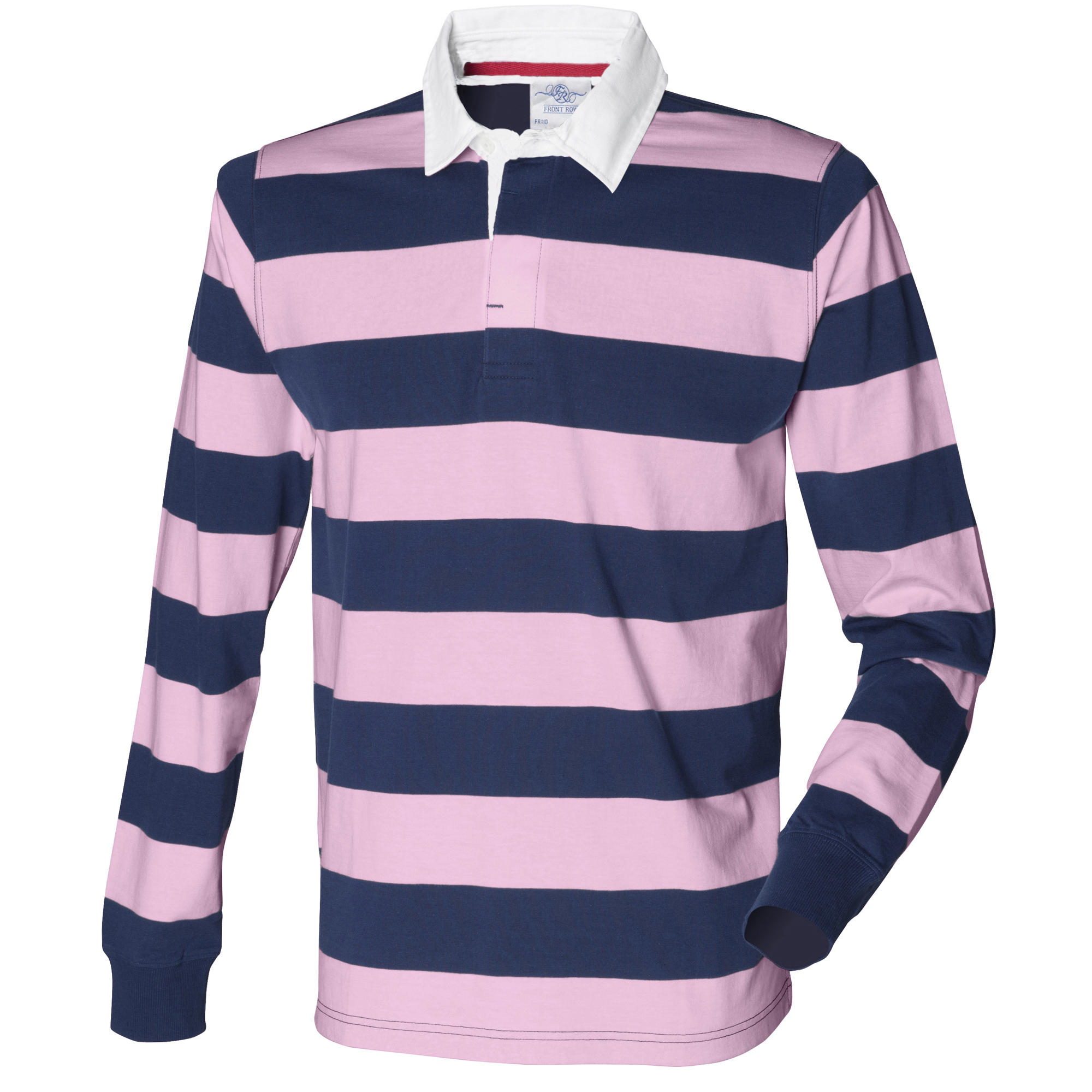 Front Row Mens Striped Sports Rugby Long Sleeve Cotton