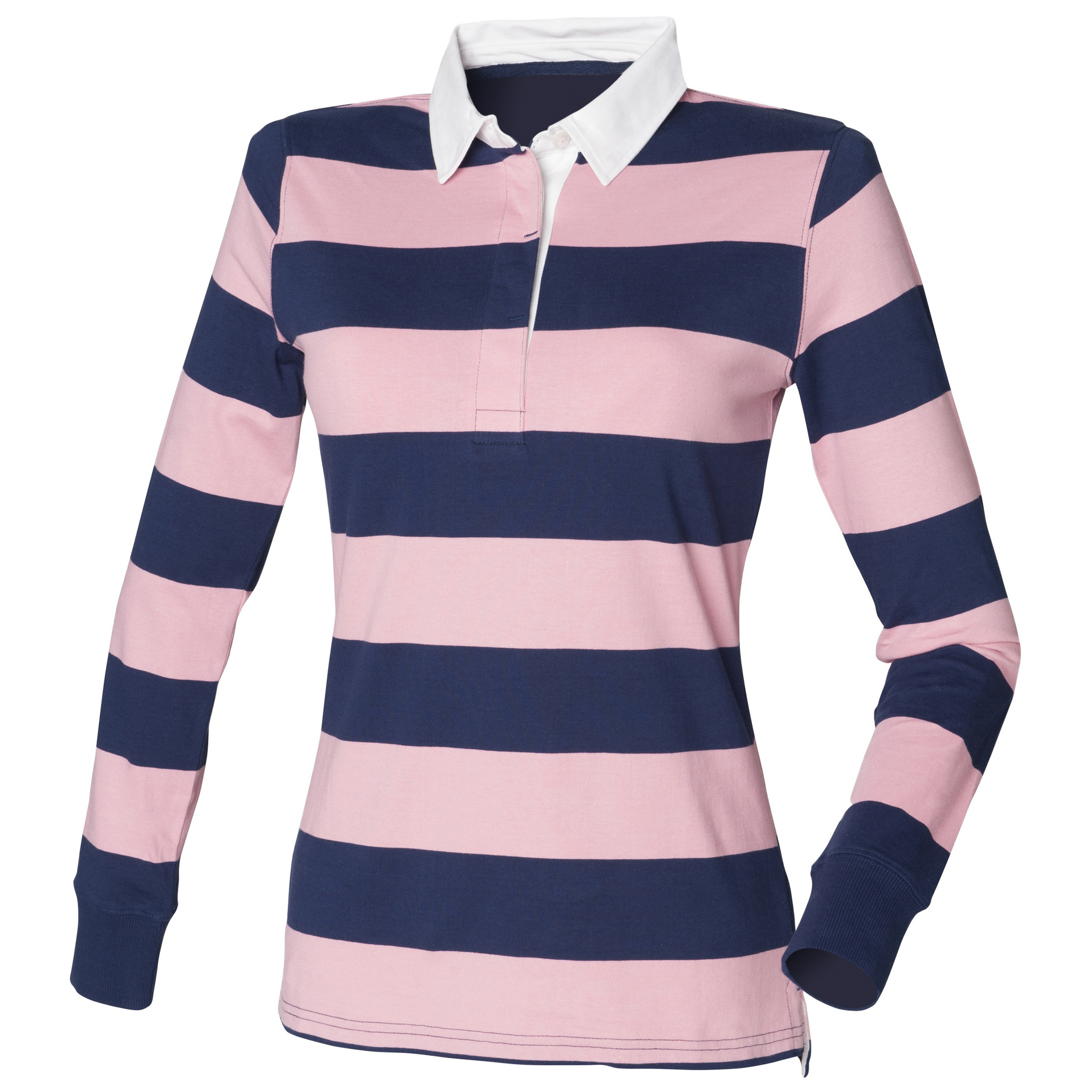 front row womens ladies striped rugby polo shirt ebay. Black Bedroom Furniture Sets. Home Design Ideas