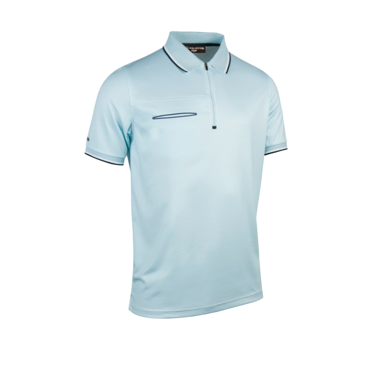 Glenmuir mens zip neck short sleeve polo shirt with pocket for Short sleeve polo shirt with pocket