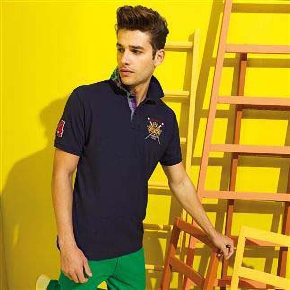 Asquith /& Fox Mens Check Trim Polo Shirt RW5038