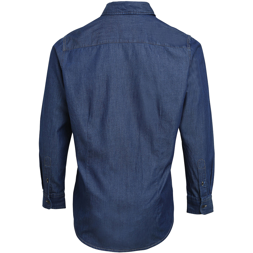 Premier Mens Jeans Stitch Long Sleeve Denim Shirt RW5593