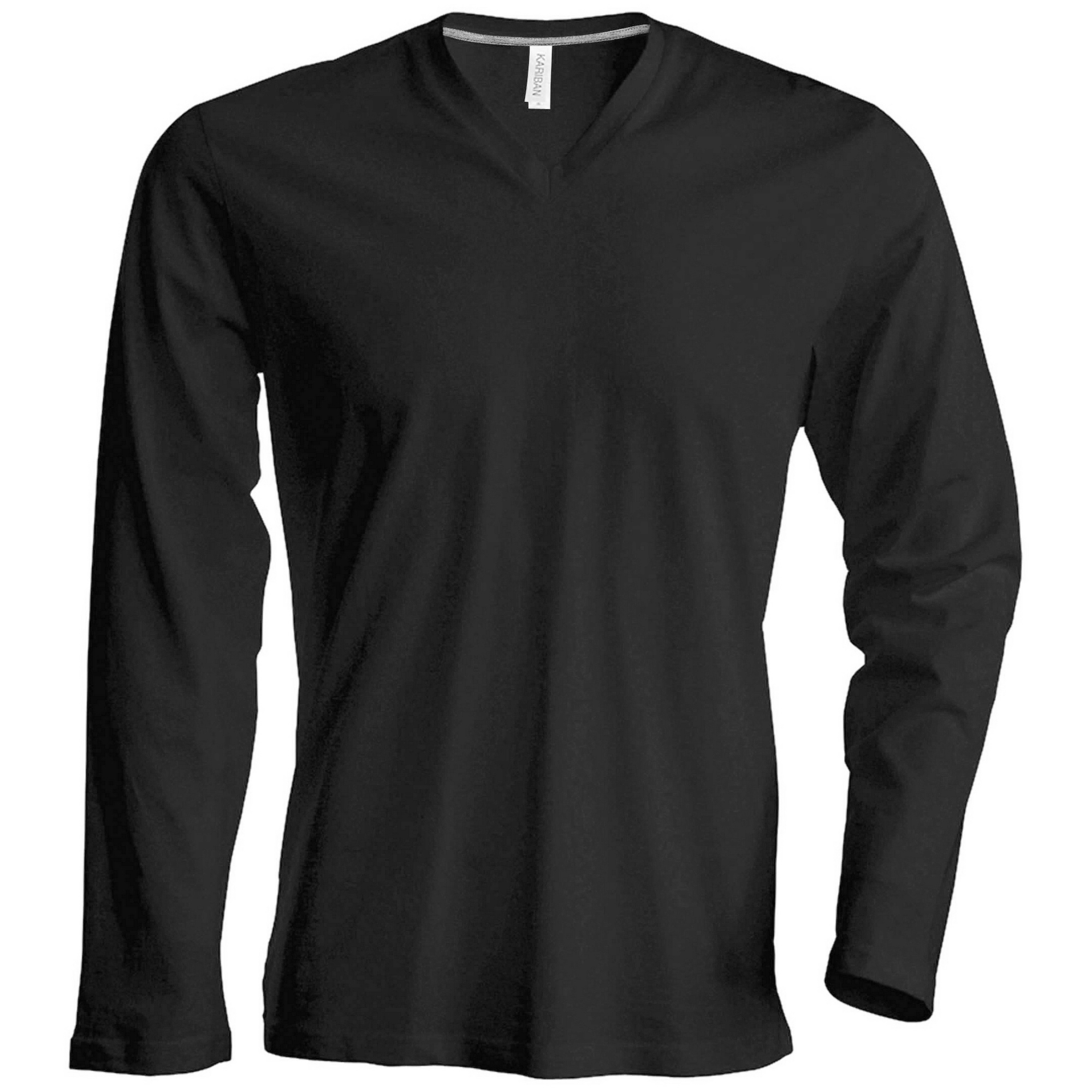 Kariban mens slim fit long sleeve v neck t shirt ebay for Mens slim fit long sleeve t shirts