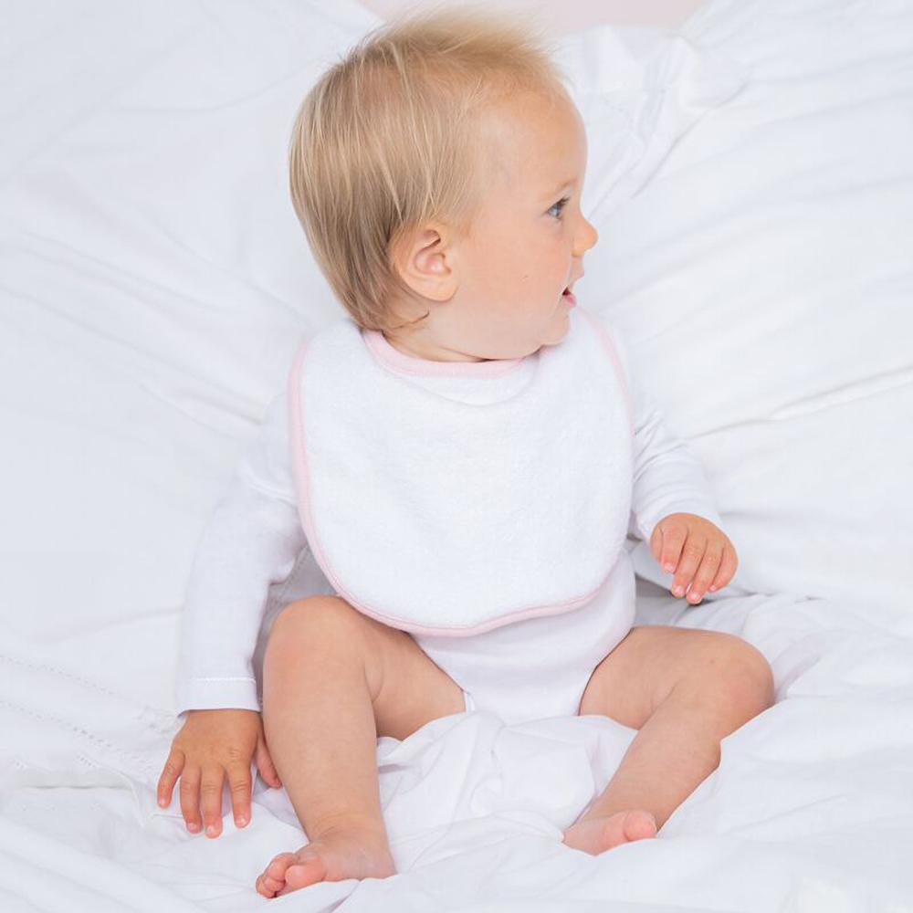 Larkwood plain unisex baby bib double fabric 245gsm ebay for Unisex baby fabric