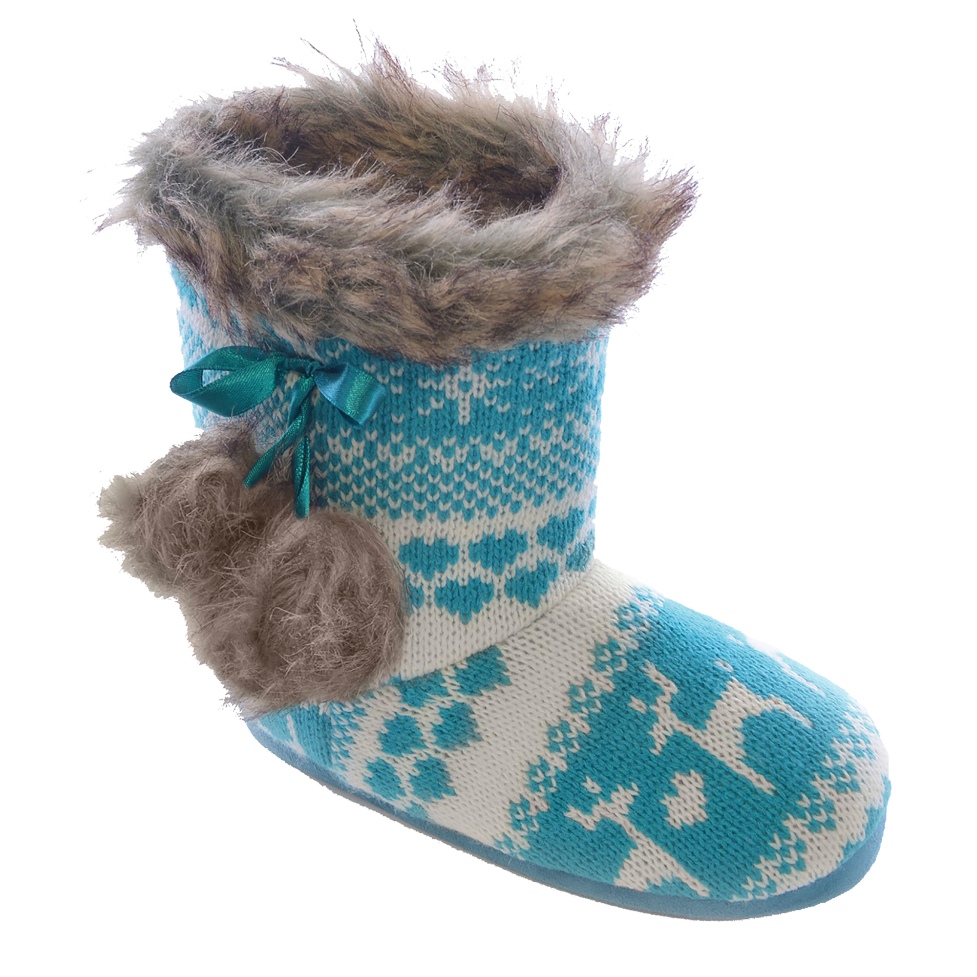 Childrens/Kids/Girls Reindeer Pattern Knitted Winter Boot Slippers eBay