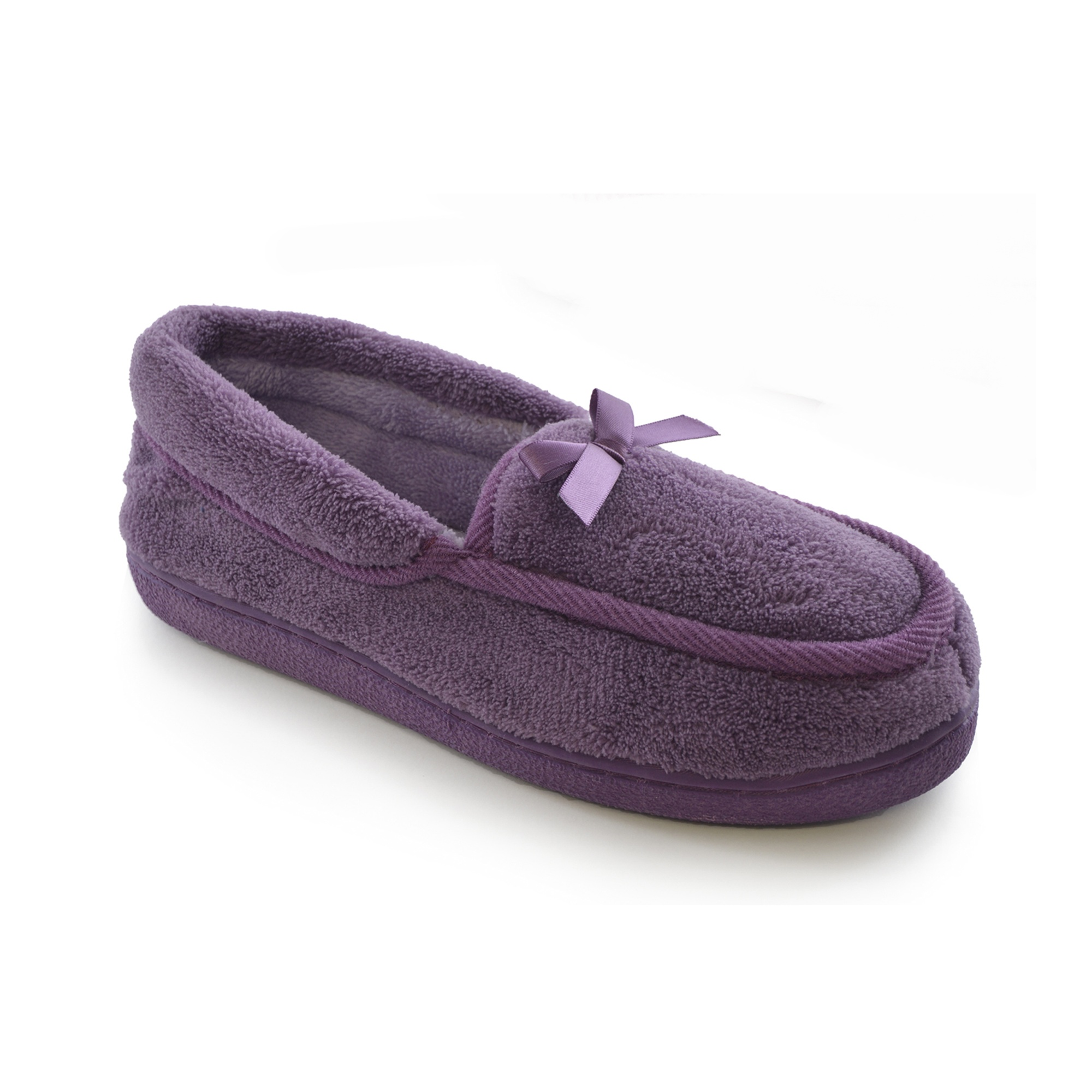 Womens/Ladies Terry Fleece Moccasin Loafer Indoor House Slippers /Slipper Shoes | EBay