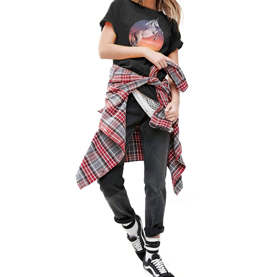 SR102 Fashionkilla Womens//Ladies Oversized Wild And Free Unicorn Print