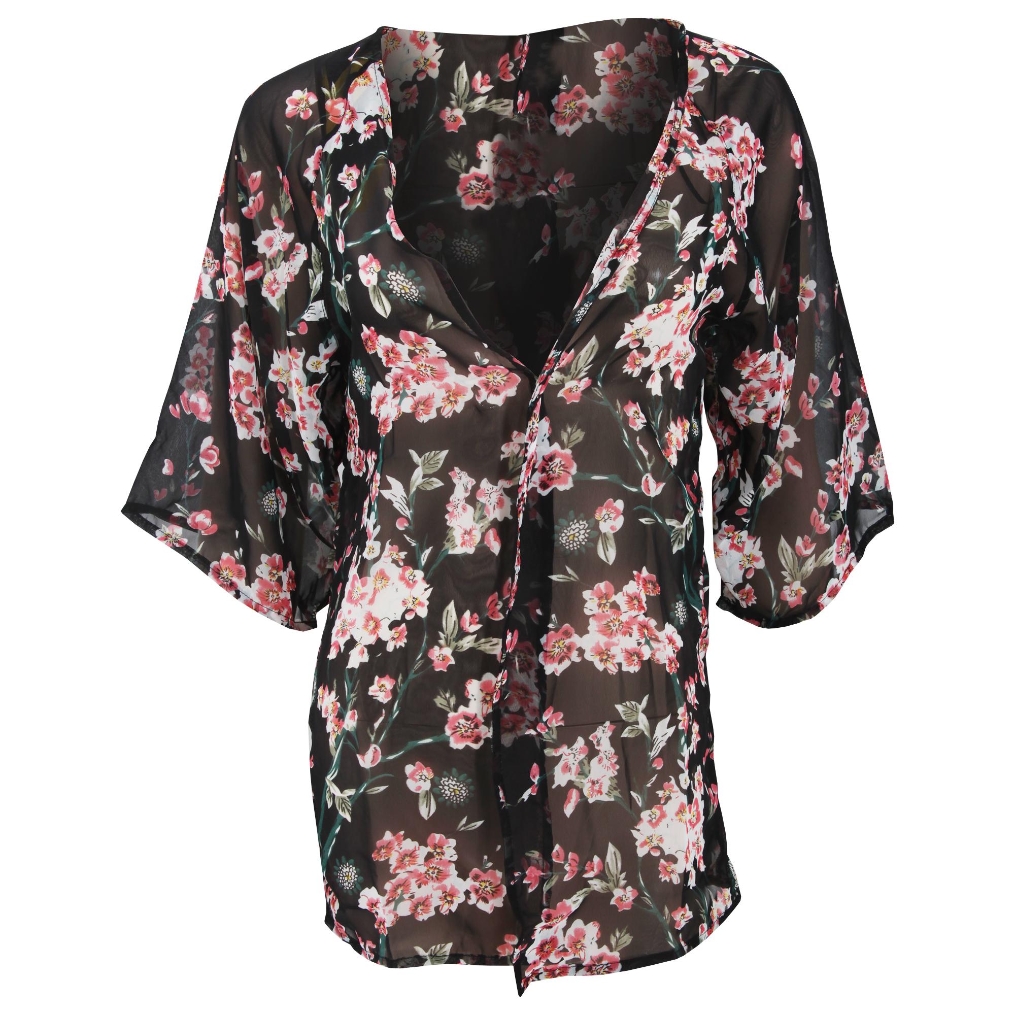Womens ladies floral chiffon cover up beach shirt ebay for Beach shirt cover up