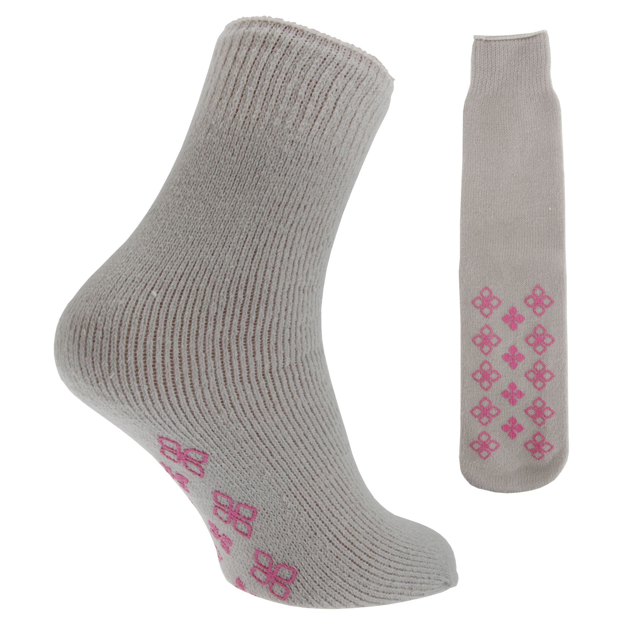 Ladies/Womens Thermal Non-Skid Slipper Socks With Grip (1 ...