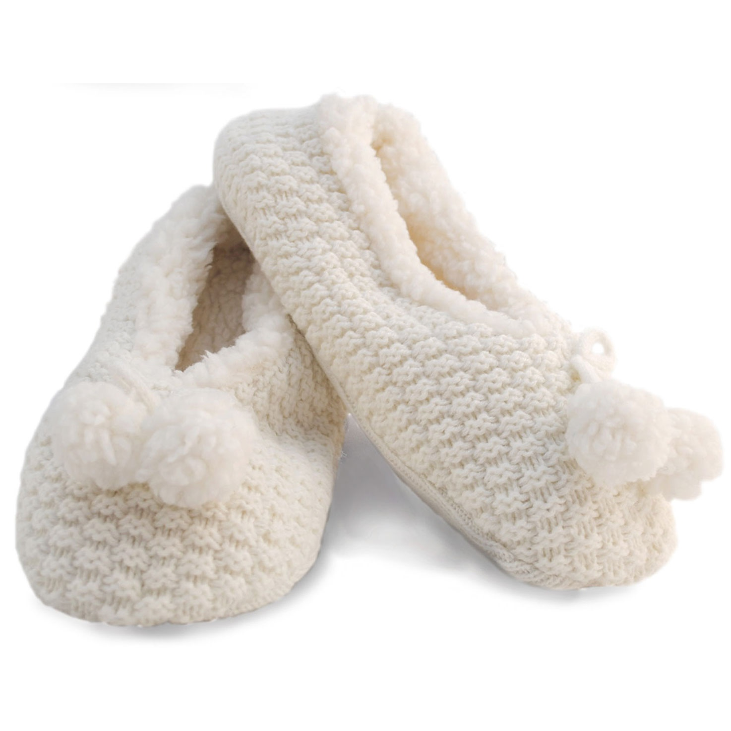 Womens/Ladies Fleece Lined Knitted Slipper Socks With Grip ...